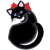 A sleek black cat with a red bow and blue eyes.