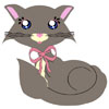 A grey and cream toon kitty with big blue anime eyes and a pink ribbon collar.