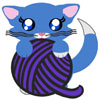 A little blue kitten with a white tail tip and a large ball of purple yarn.