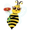 A yellow bee with black stripes, big brown eyes with long lashes, a honeycomb flower on her head, and a flower in her hands.
