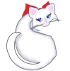 A white cartoon cat with big blue eyes that hold bass clefs and a large red bow.