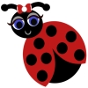 A black and red ladybug with a smile and a red and white bow by her antennas.