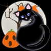 A sleek black cat with an orange bow, blue eyes, glowing full moon, and a Jack-o-Lantern