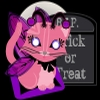 A little pink kitty with butterfly wings in a fairy costume, sitting on a purple and black cushion in front of a full moon and gray tombstone that says R.I.P and Trick or Treat