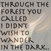 Faded elf under beginning text of the poem through the forest you called I did not wish to wander in